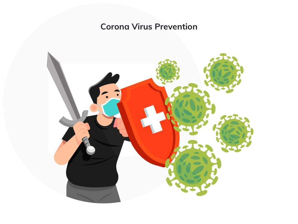 men protecting himself against coronavirus with shield and sword